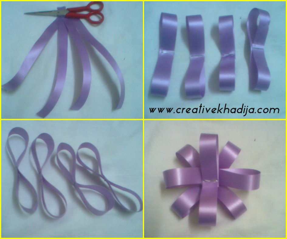 paper ribbon flower making