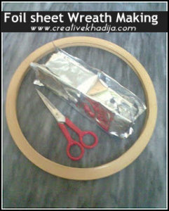 foil sheet winter wreath making-recycling idea