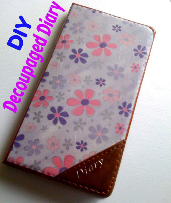 Decoupaged diary cover