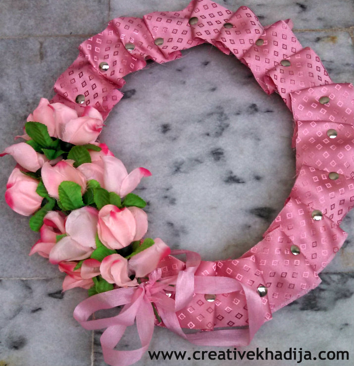 pink wreath making