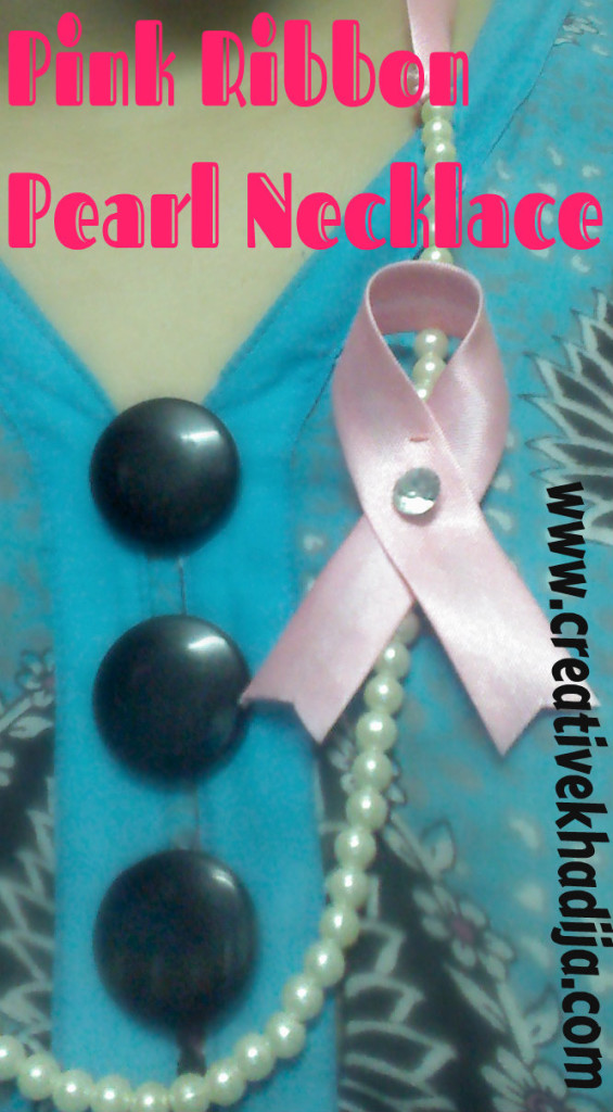 pinkribbon pearl necklace diy