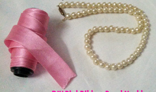 DIY PinkRibbon Pearl Necklace