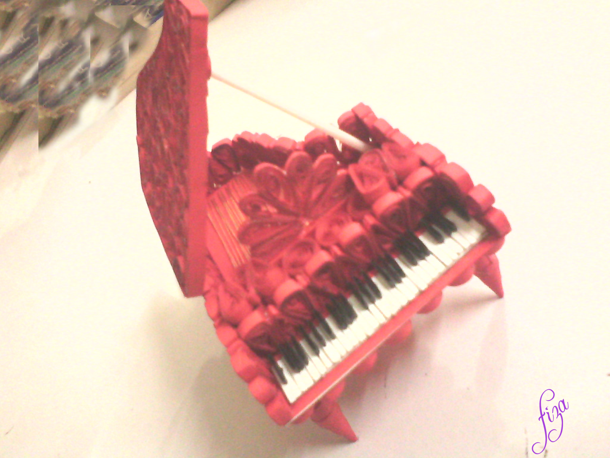 most attractive paper craft is this pretty piano with paper quilling ...