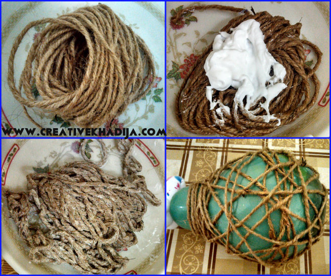 jute nest with modpodge