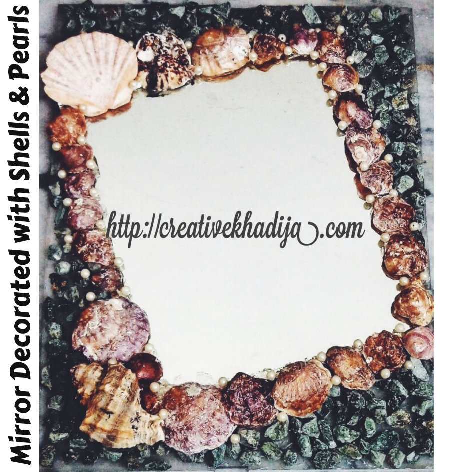 mirror decorated with shells pearls - Decorated Mirror