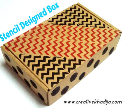 gift box design with stenciling technique