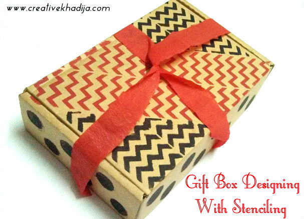 gift box designing with stenciling