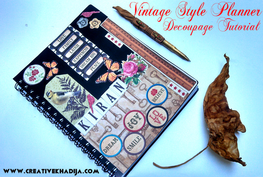 vintage style inspired planner decoupage diy
