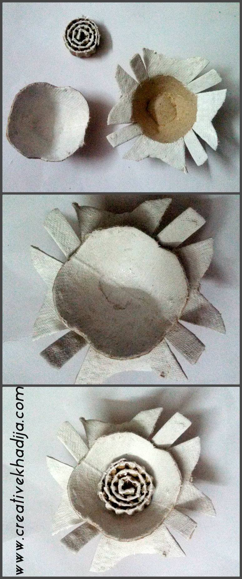 egg carton flowers making tutorial
