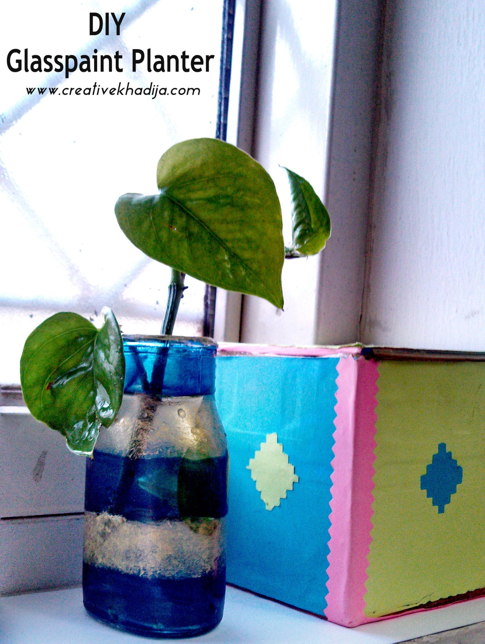 DIY glassPaint Planter Pot