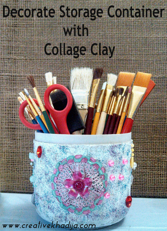 storage container DIY with collage clay