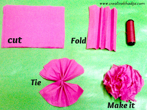 How to make colorful crepe paper flowers for decoration