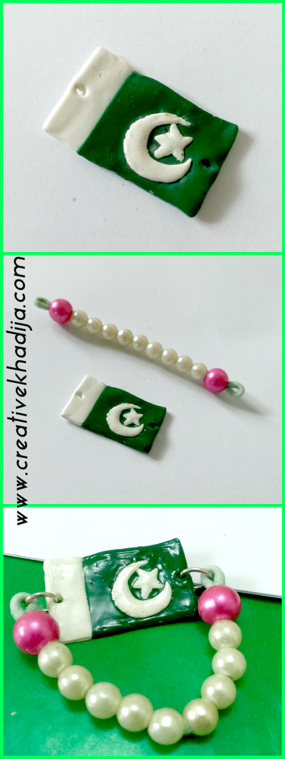 clay charm mobile with pakistani flag