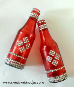 recycled glass paint bottles decoration