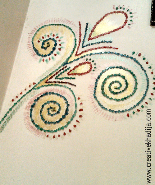 mosaic wall art glass paint peacock feather