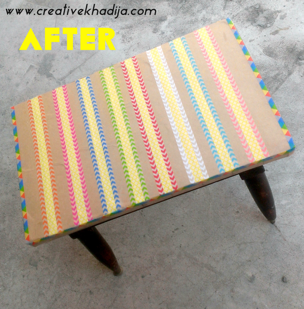 How To Decorate an Old Table with Washi Tape