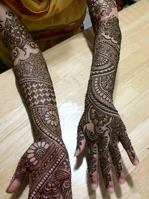 traditional full hand bridal mehndi