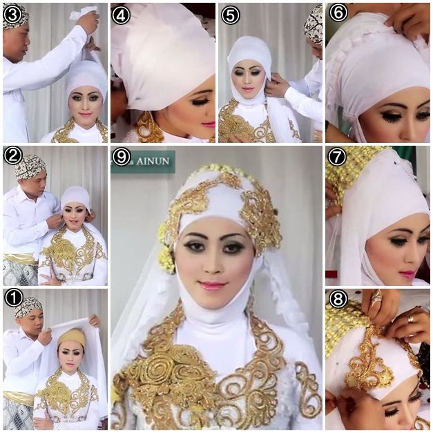 white bridal hijab