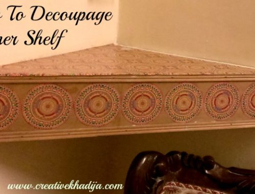 how to decoupage wooden corner shelf DIY