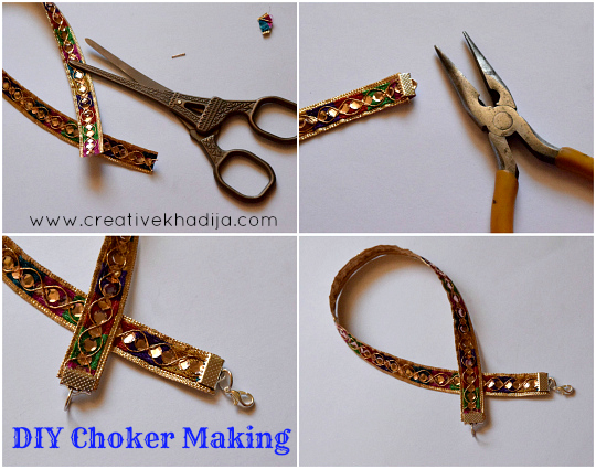 how to make decorative choker necklace in two minutes. Tutorial by Creative Khadija Blog