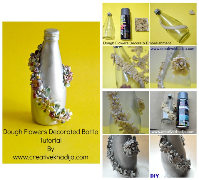how to decorate glass bottle with dough flowers embellishment