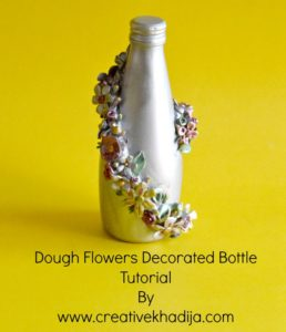 how to decorate glass bottle with dough flowers & crafts