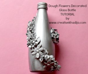 how to decorate & reuse glass bottle with dough flowers decoration