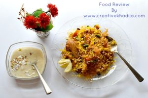 spicy chicken biryani and kheer. food blogger and reviewer from islamabad. Creative khadija food photography Nikon D5300