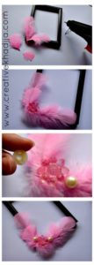 how to decorate and embellish a plain photo frame with feathers & rhinestones