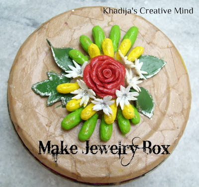jewelry box decoupage and decorated with dough flowers tutorial with creative khadija