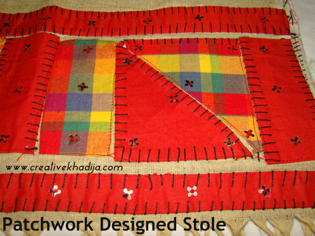 Applique Patch work on Stole