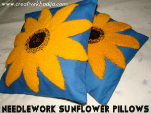 needlework sunflower pillows