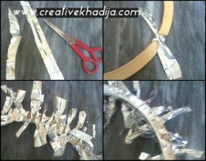 foil sheet winter wreath making-recycling idea