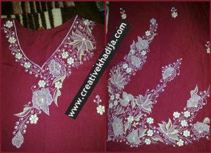 machine embroidery designs on shirt neckline