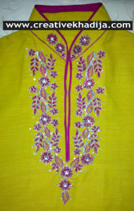 machine embroidery on shirt neckline