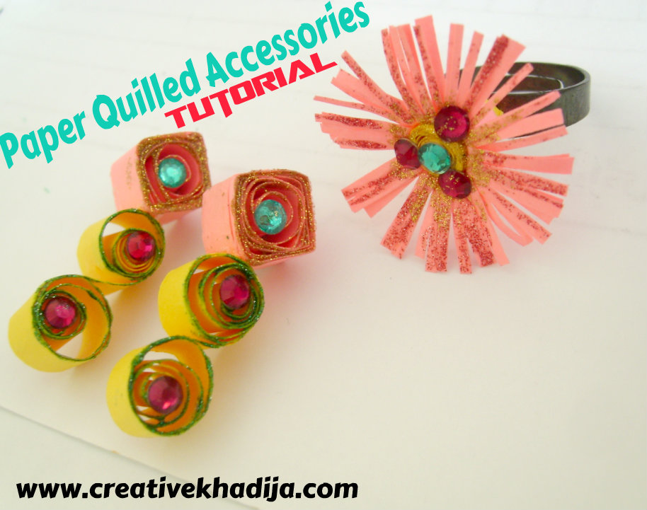 Paper quilled ring earrings tutorial