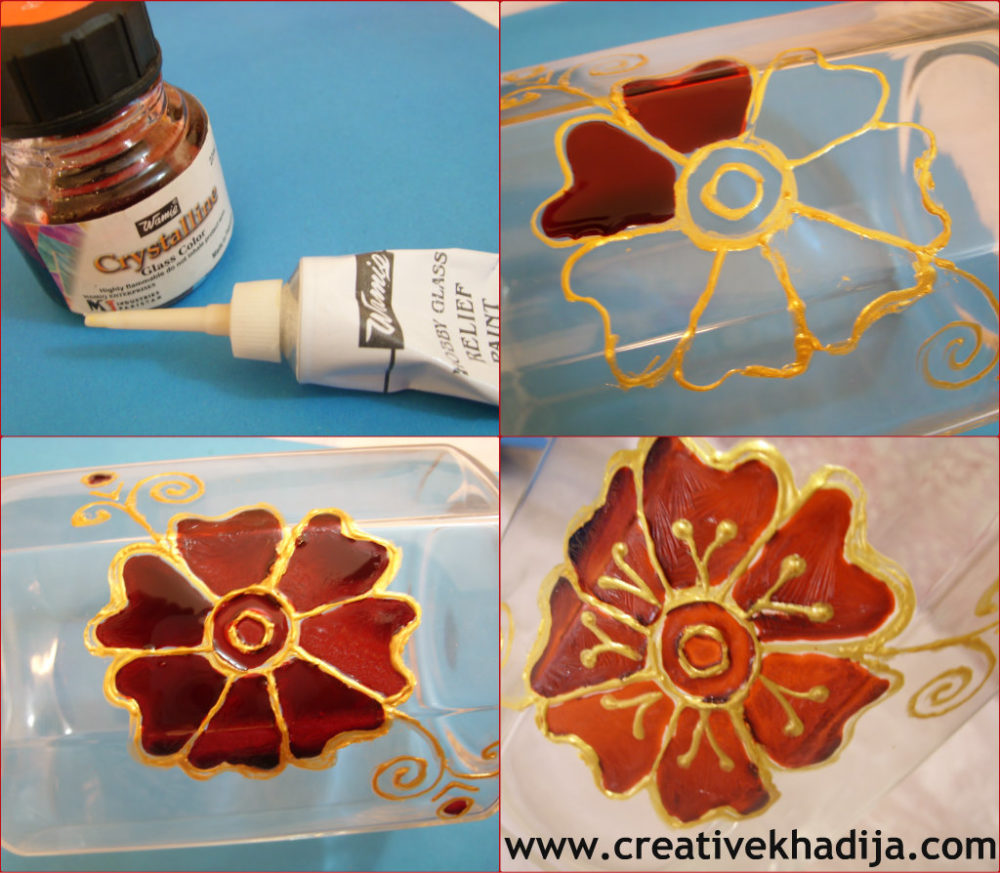 designing glass jar with glasspainting