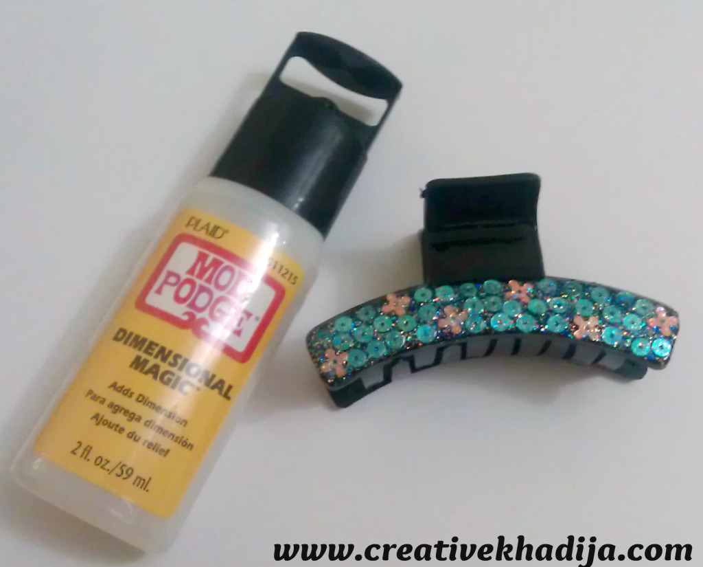 mod podge hairclip refashion