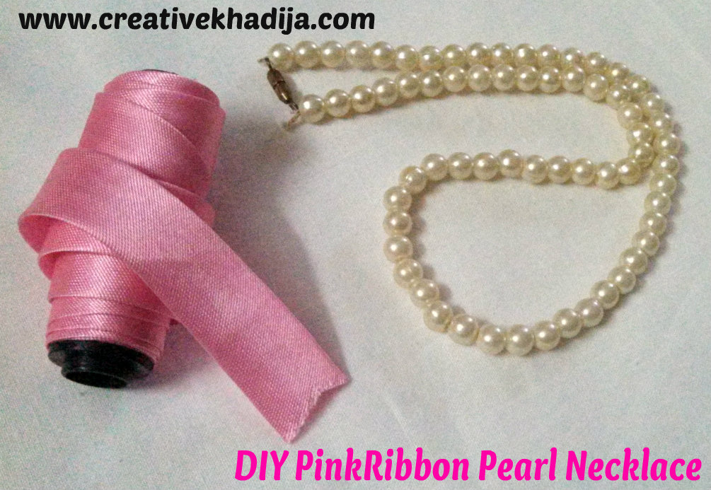 pink ribbon necklace diy