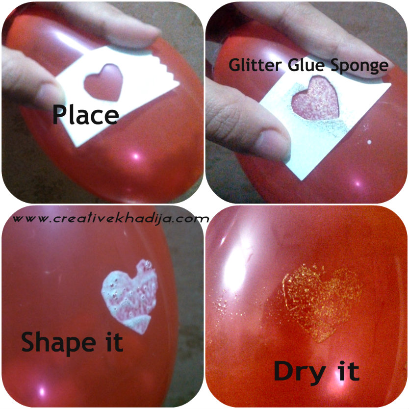 DIY hearts baloon with glitter