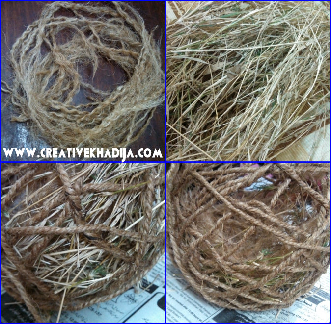 jute nest with grass