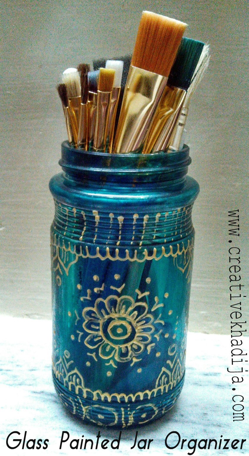 glass painted jar organizer tutorial