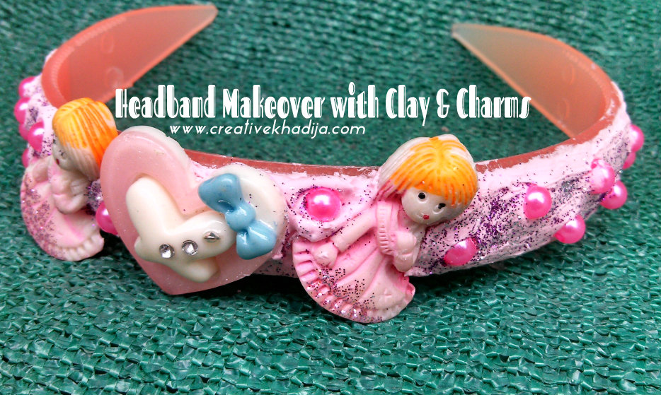 headband makeover with clay charm beads
