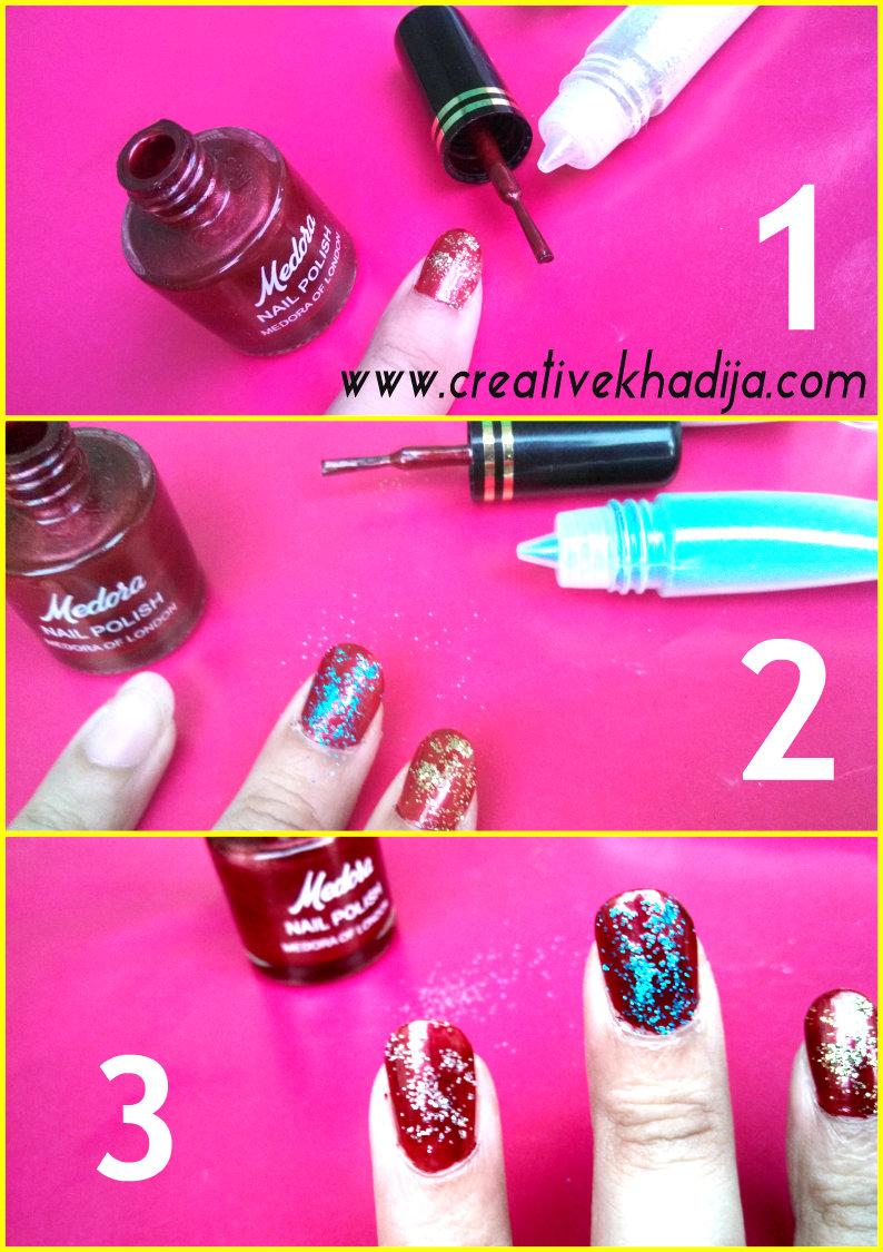 Glitter nail art diy idea
