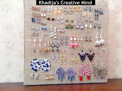 Burlap jewelry organizer
