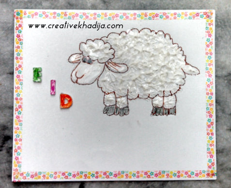 eid card crafts sheep collage clay-3