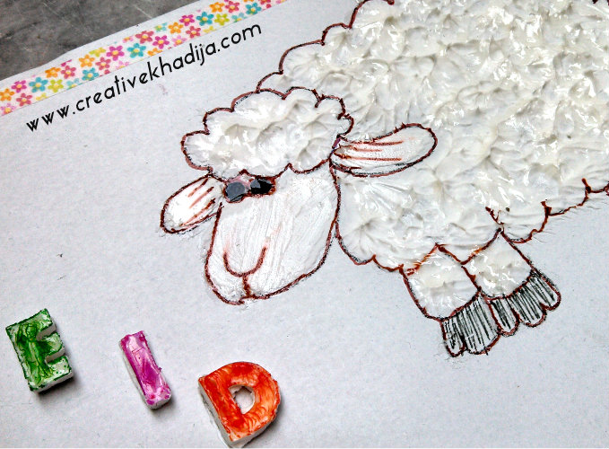 eid card crafts sheep collage clay