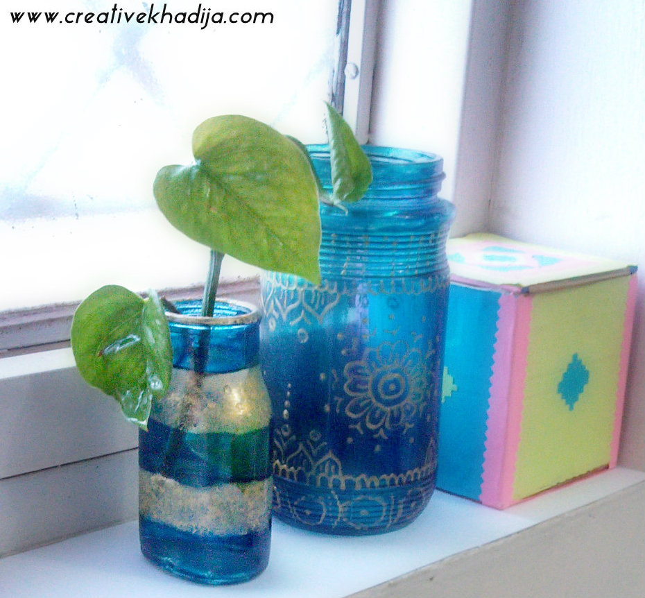 Plant Container Glass Paint DIY planter ideas