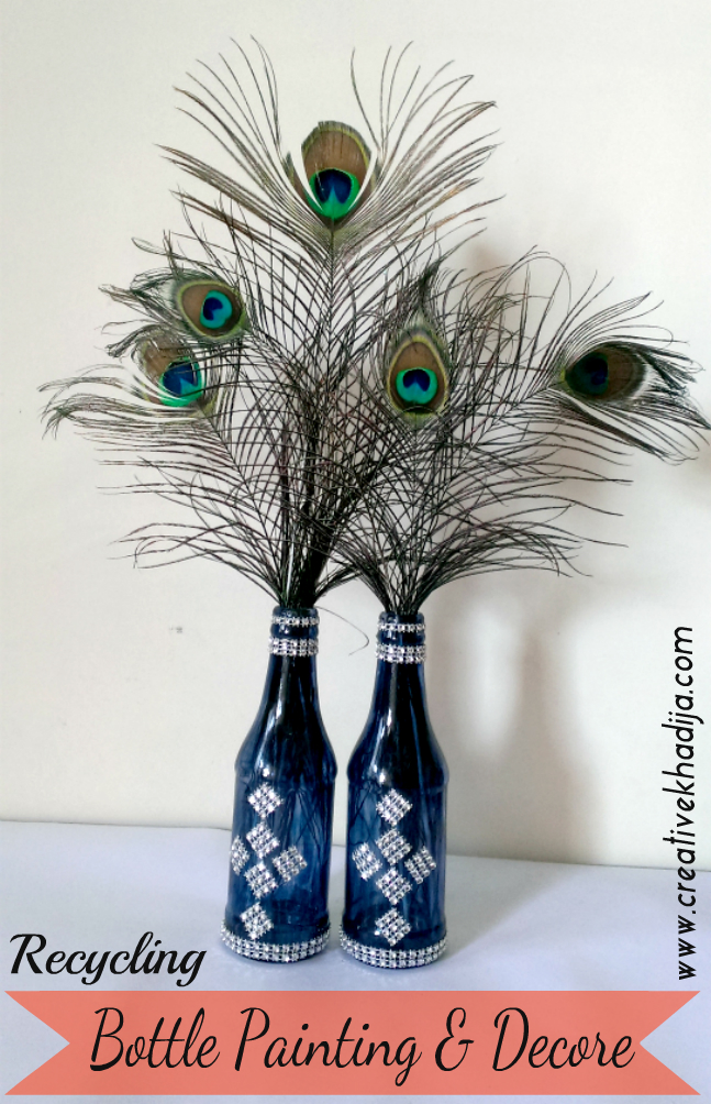 glass bottle recycling painting and decorating with silver laces