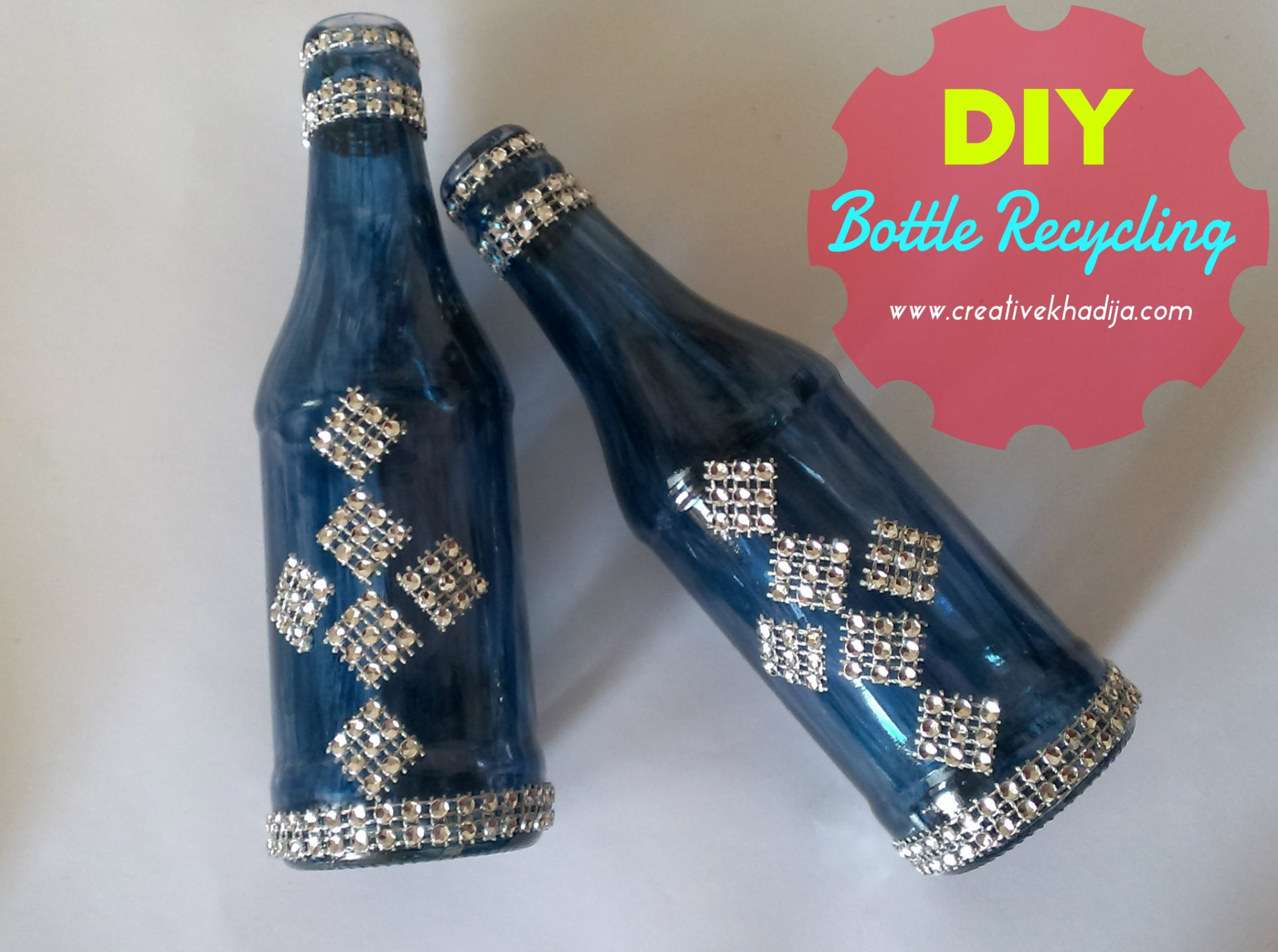 DIY Glass Painted Bottles Decoration-Recycling ideas